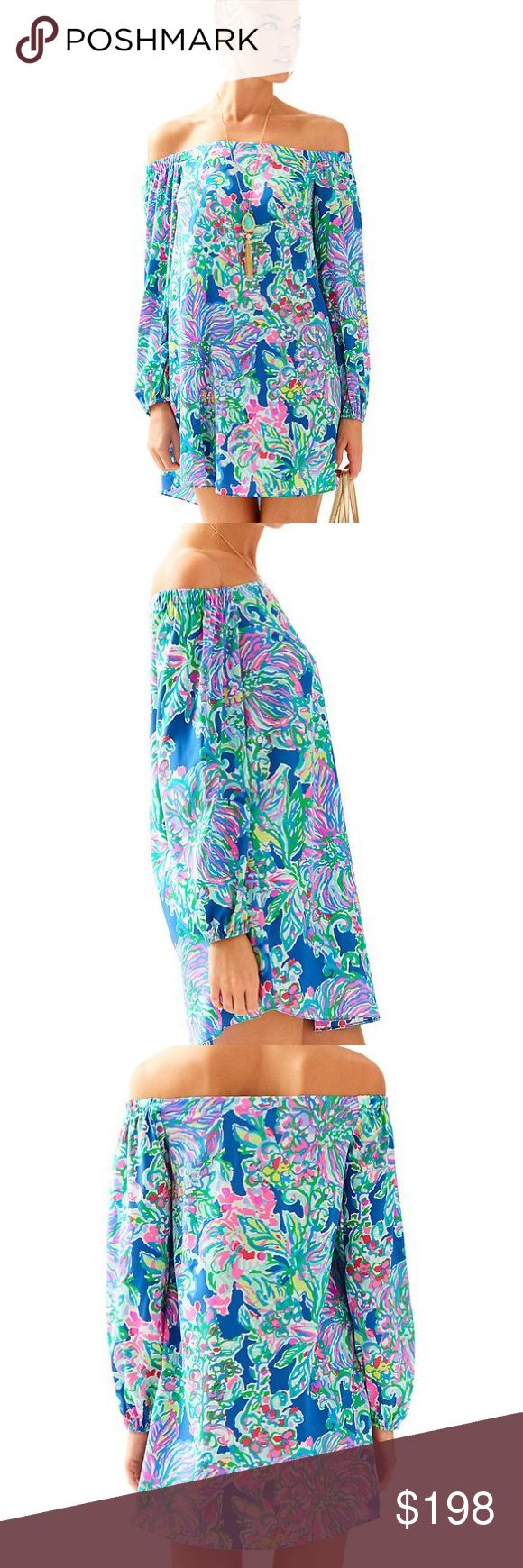 """lilly Pulitzer adira off the shoulder dress large Size large. Stretch silk. 2017. Price is firm I paid full price and am losing out on this but I bought it non returnable. Super cute off the shoulder style beautiful print great reviews online. NWT The Adira Stretch Silk Dress is an A-line, long sleeved, off the shoulder dress. Sleeved Off The Shoulder Dress. 35"""" From Top Of Shoulder To Hem. Length: Above The Knee. Stretch Silk - Printed (90% Silk, 10% Spandex). Dry Clean Only. Imported…"""