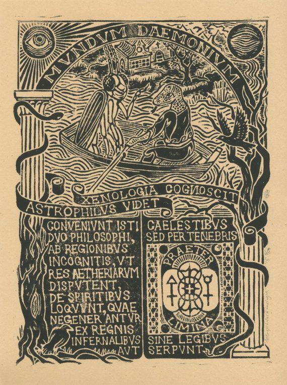 "Original Linoprint occult art hermetic art lovecraftian philosophical arcane art alchemy history transcendent ""Astrophilus & Xenologia"" 6/50"