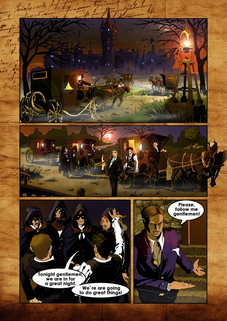 The feudal castle. The sunset has begun, but it still lit outside. Carriages arrive to the old fortress. A young people of aristocratic appearance come one after another. Each of them holds a carpetbag of different size and shape. Yours, Albert D. #ComicsTDF #Comics #TransylvaniaDamnFun #VladDamian #ConstantineZgomot