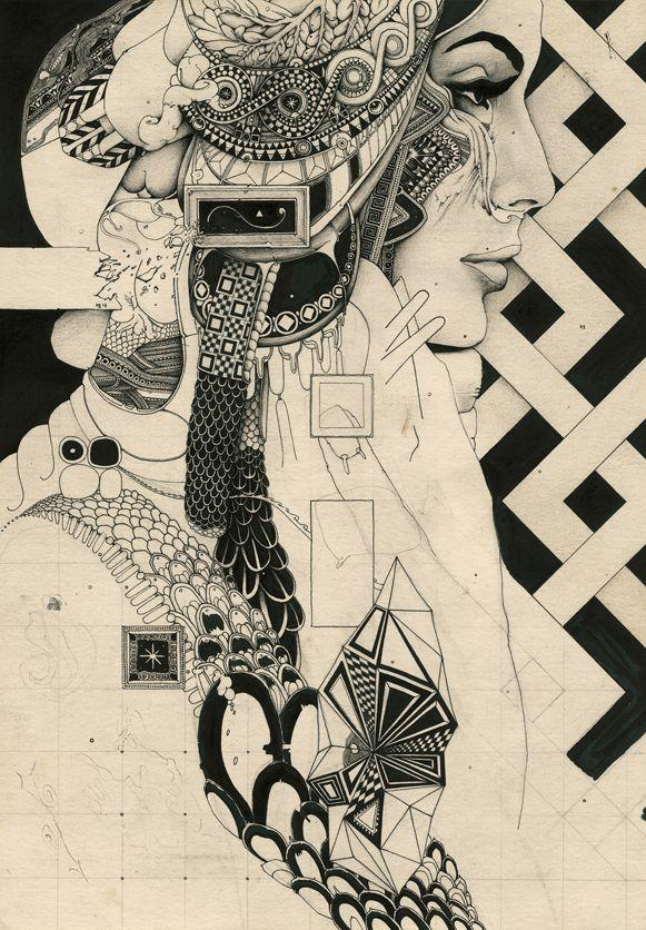 Arij Moka. Perfect Darkness, 2012. Ink pen, indian ink on paper.