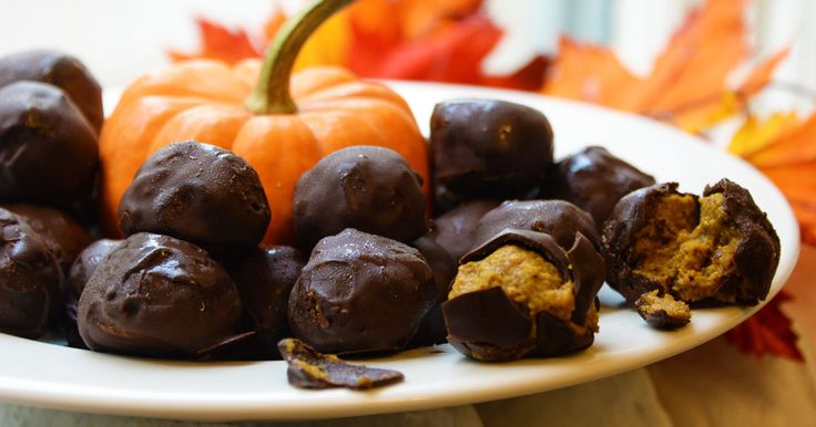 "Healthy pumpkin pie? Covered in chocolate?? Packed with protein?! I am ready to give thanks. These ""truffles"" are sweetened with only plant sources—and they sneak in loads of nutrients and fiber. Seconds, anyone?"