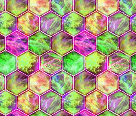 MAGIC CONTAINED LIGHTNING HEXAGONS Pink green spring fabric by paysmage on Spoonflower - custom fabric