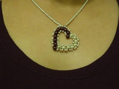 ▶ How to make small heart pendant with pearls/ DIY Valentine's day project - YouTube