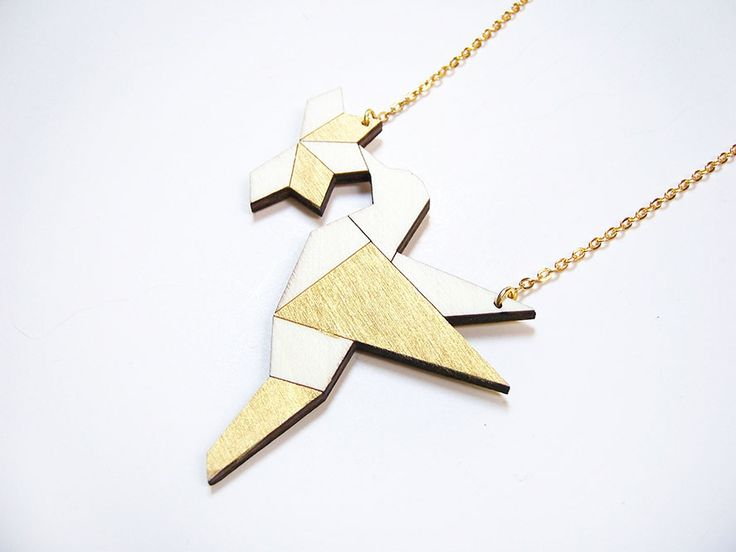 Hand painted, laser cut, plywood pendant - Bird with flower