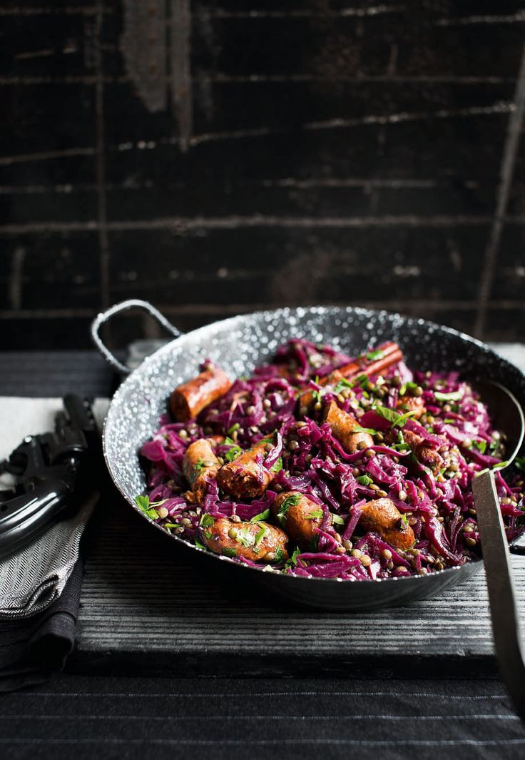 Merguez sausages are made from lamb or beef and usually contain harissa, cumin and fennel. Combined with red cabbage and lentils this dish is packed full of flavour and makes a beautiful, colourful meal.