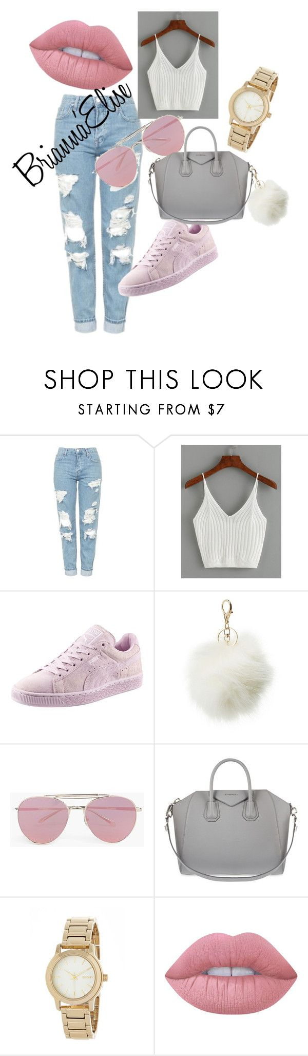 """Comfortable Day Time Look"" by bmitchell1836 ❤ liked on Polyvore featuring Topshop, Puma, Charlotte Russe, Boohoo, Givenchy, DKNY and Lime Crime"