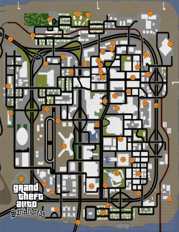 Mapa Herraduras Gta San Andreas San Andreas Gta Trucos De San Andreas