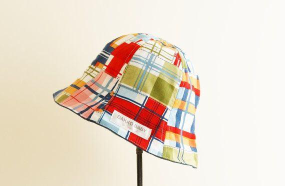 Baby sun hat summer hat  madras check patchwork by DakkoBabySC,