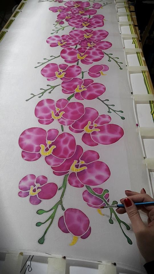 Hand painted silk scarf Tender Orchids flower by JoannaArtDesign