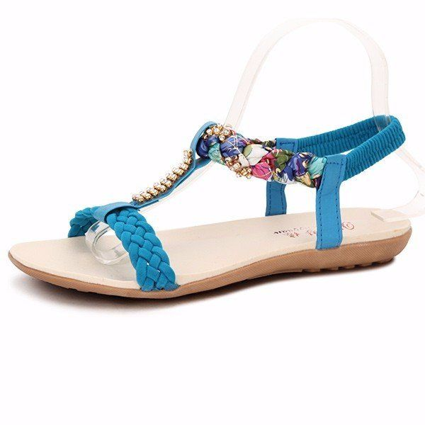 Women Summer Chic Sandals Beach Rhinestone Peep Toe Shoes Flat Sandals - US$16.75