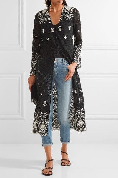 Alice Olivia - Stara Embroidered Cotton-blend Corded Lace Kaftan - Black - XS/S