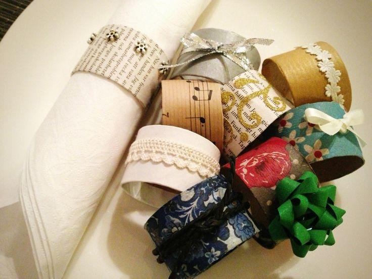 Servettringar av toarullar, miljövänligt och billigt pyssel. Napkin ring DIY
