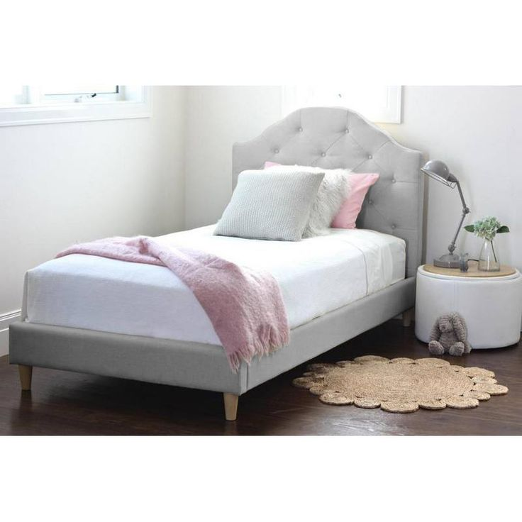 Mia Storm Grey Single Upholstered Bed