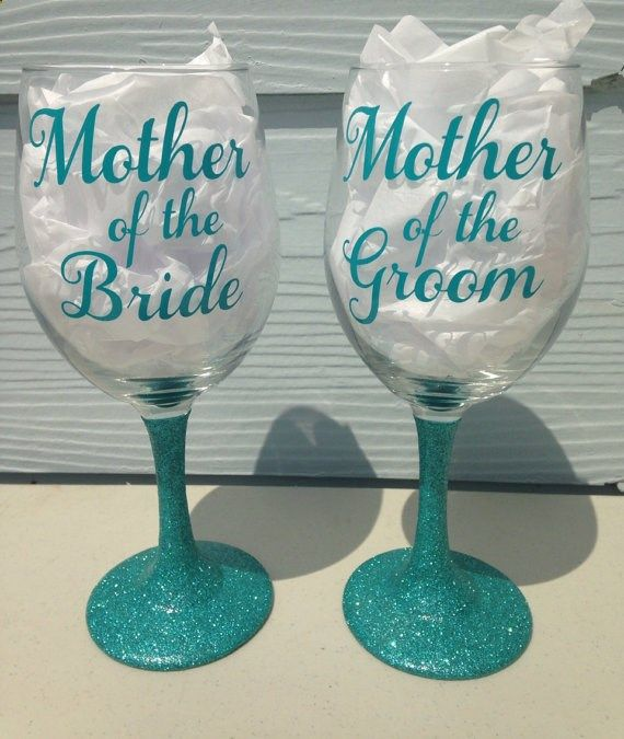 Wine Glasses - Wedding Day Mother of the Bride and Mother of the Groom Glitter Stem  Vinyl Wine Glass - 20oz, $25.95