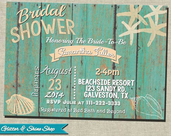 8dd0ad45bbc82b Printable BEACH BRIDAL Shower INVITATION by GlitterAndShineShop ...