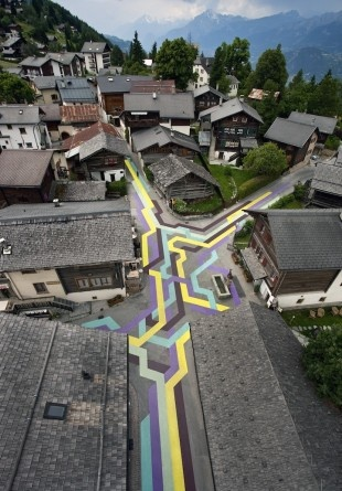 Street Painting Through Switzerland Village