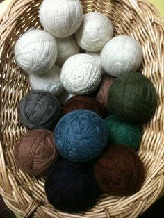wool dryerballs made my own! found yarn at the thrift store, but ugh it smells like old lady. hope I can get that out