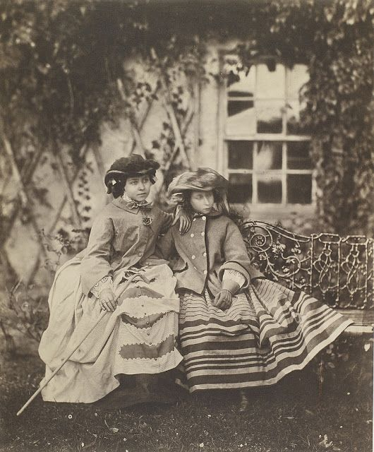 vintage everyday: Victoria, Princess Royal and her sister Princess Alice sit together outside on bench, 1856