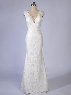 Gorgeous V-neck long mermaid wedding dress with lace overlay