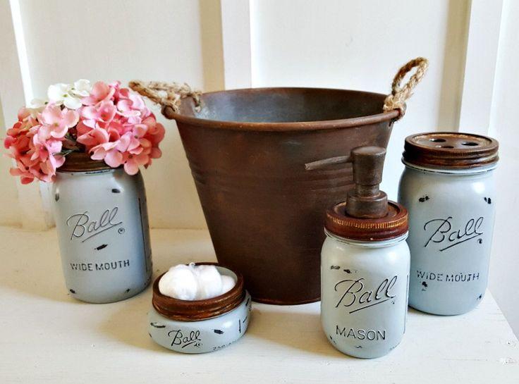Rustic 5 Piece Mason Jar Bathroom Set.BLUE.Rustic Mason Soap Dispenser. Mason Flower Vase. Rustic Waste Basket.Fixer Upper Bathroom Decor. by Kksmercantile on Etsy https://www.etsy.com/listing/279530290/rustic-5-piece-mason-jar-bathroom