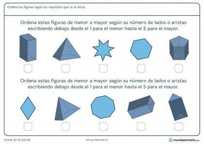 Ficha de aristas de figuras para niños de 10 años