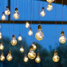 Catena di luci solari Party da 9,6 m con 32 lampadine pendenti, 192 miniled bianco caldo, cavo nero