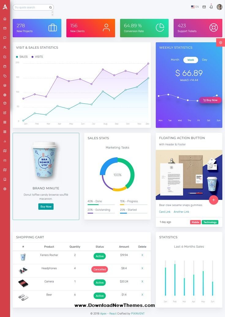 Apex is a clean and modern design responsive React bootstrap