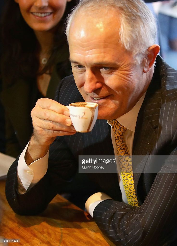 Prime Minister Malcolm Turnbull has coffee with Julia Banks and her family at Vanilla Cafe on July 8, 2016 in Oakleigh, Australia. The Prime Minister is meeting with members around Australia to sure up support for the Coalition as counting continues following election night on Saturday. After results were too close to call a winner on the night, postal votes continue to be counted to determine who claims majority victory.