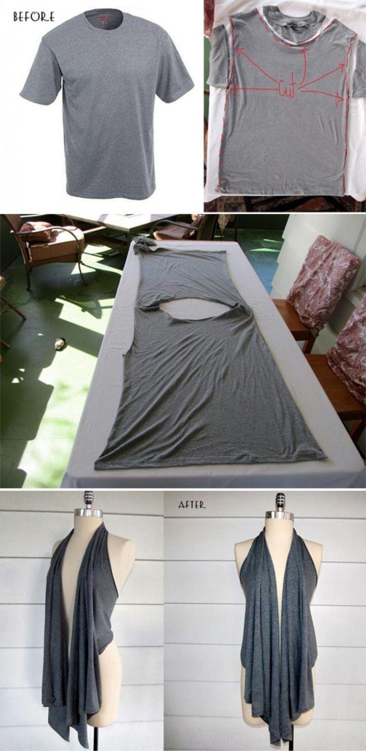 Très impressionnant! Un brico simple qui vous donnera une jolie veste drapée, un accessoire mode à porter avec n'importe quoi! Ingénieux! Avec un t-Shirt trop grand que votre amoureux ne porte plus vous pourrez vous fabriquer une petite vestesuper o