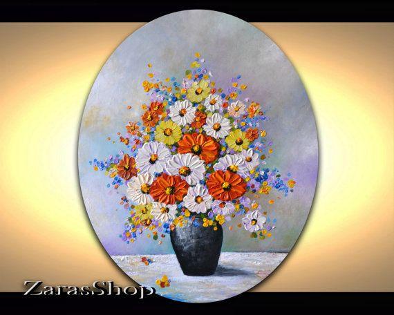 Still life artwork abstract flower vase original by ZarasShop