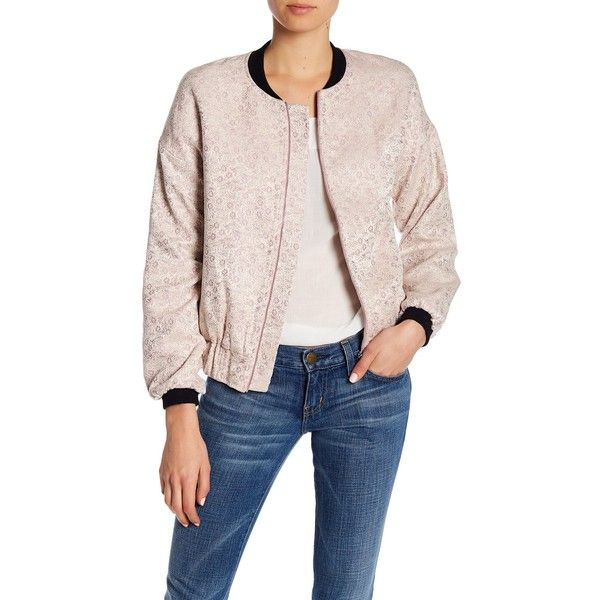 Blush Noir Brocade Floral Bomber Jacket ($60) ❤ liked on Polyvore featuring outerwear, jackets, mauve pink paisley, mauve bomber jacket, collared bomber jacket, floral-print bomber jackets, pink flight jacket and floral jacket