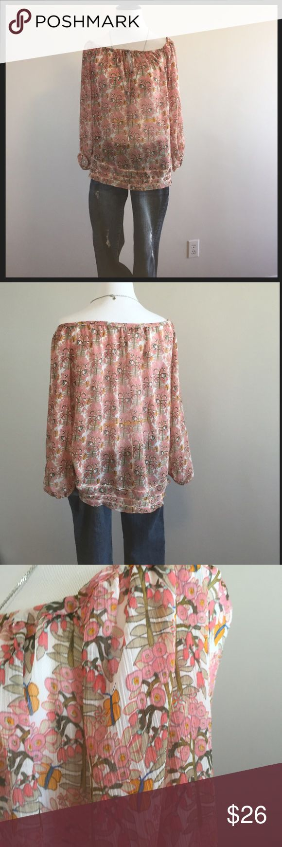 Zara sheer floral print blouse Sheer peasant-style blouse in a pretty floral pattern. It's SHEER so you'll definitely want to wear something underneath. Can be worn on or off the shoulder. Received lots of compliments wearing this, so you likely will, too. Zara Tops Blouses