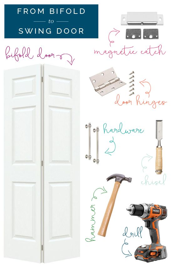Replace pantry door with two swinging doors converted from bi-folds | looks easy | iHeart Organizing blog