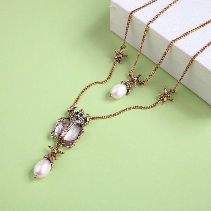 Beetle pendant necklace unique pearl necklace pearl