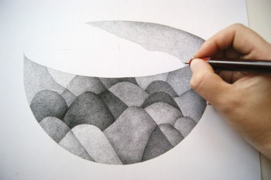 Work in progress Ink dotted drawing