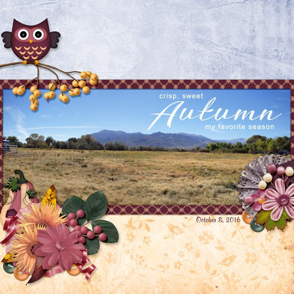 This is for Elizabeth's October 2016 Spotlight The Collab Challenge.  I used Autumn Treasures Collab by ScrapBird Designers.