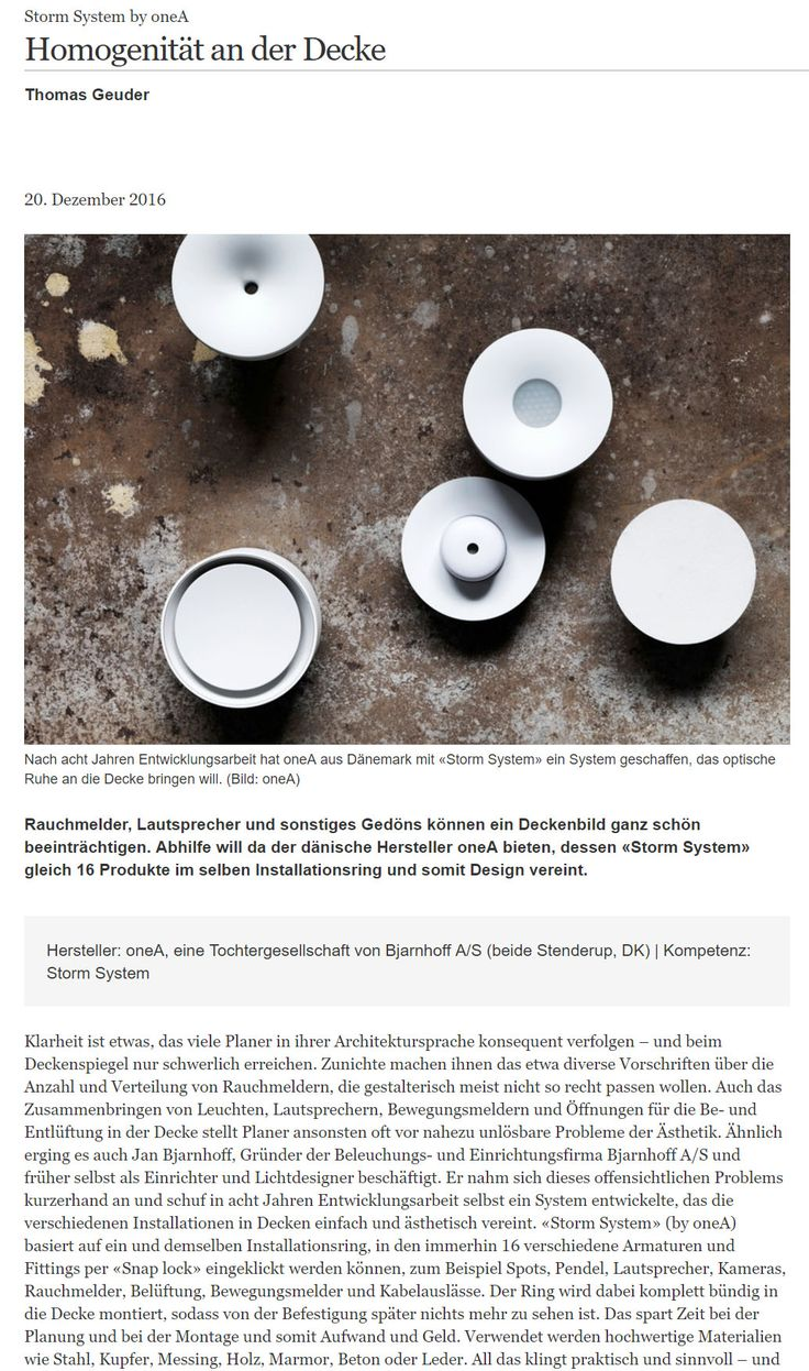 """Thanks to german-architects for this great article about STORM SYSTEM® - """"Homogenität an der Decke""""."""