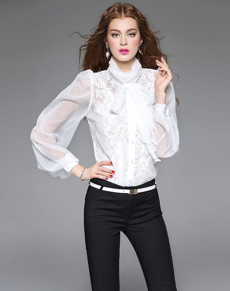 #AdoreWe #VIPme Blouses & Shirts - mojaser White Long Sleeve Cutout Bow Bodysuit Blouse - VIPme.com - AdoreWe.com