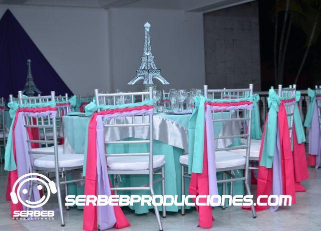 Sillas Tiffany con cinta  para una decoración temática