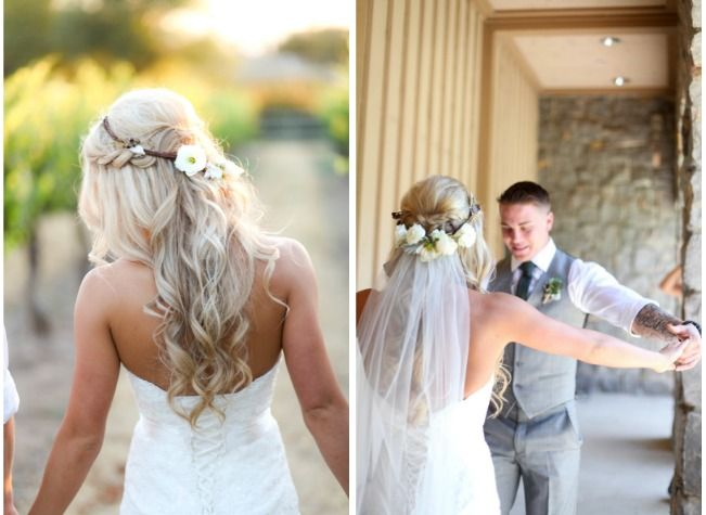 braided half up half down hairstyle with veil