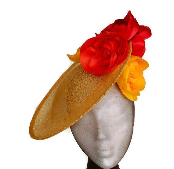 Tocado amarillo y naranja, tocado floral, tocado flores amarillas, accesorios amarillos, tocado naranja, tocado boda, pamleas y tocados