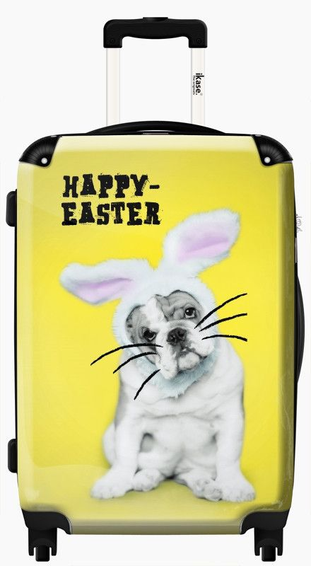 Suitcase funny happy Easter