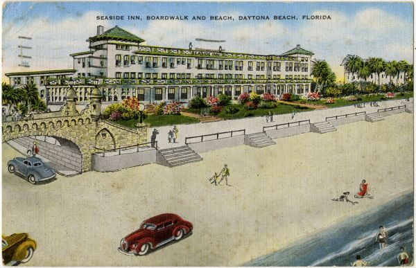 Postcard of the Seaside Inn, boardwalk and beach at Daytona Beach. | Florida Memory