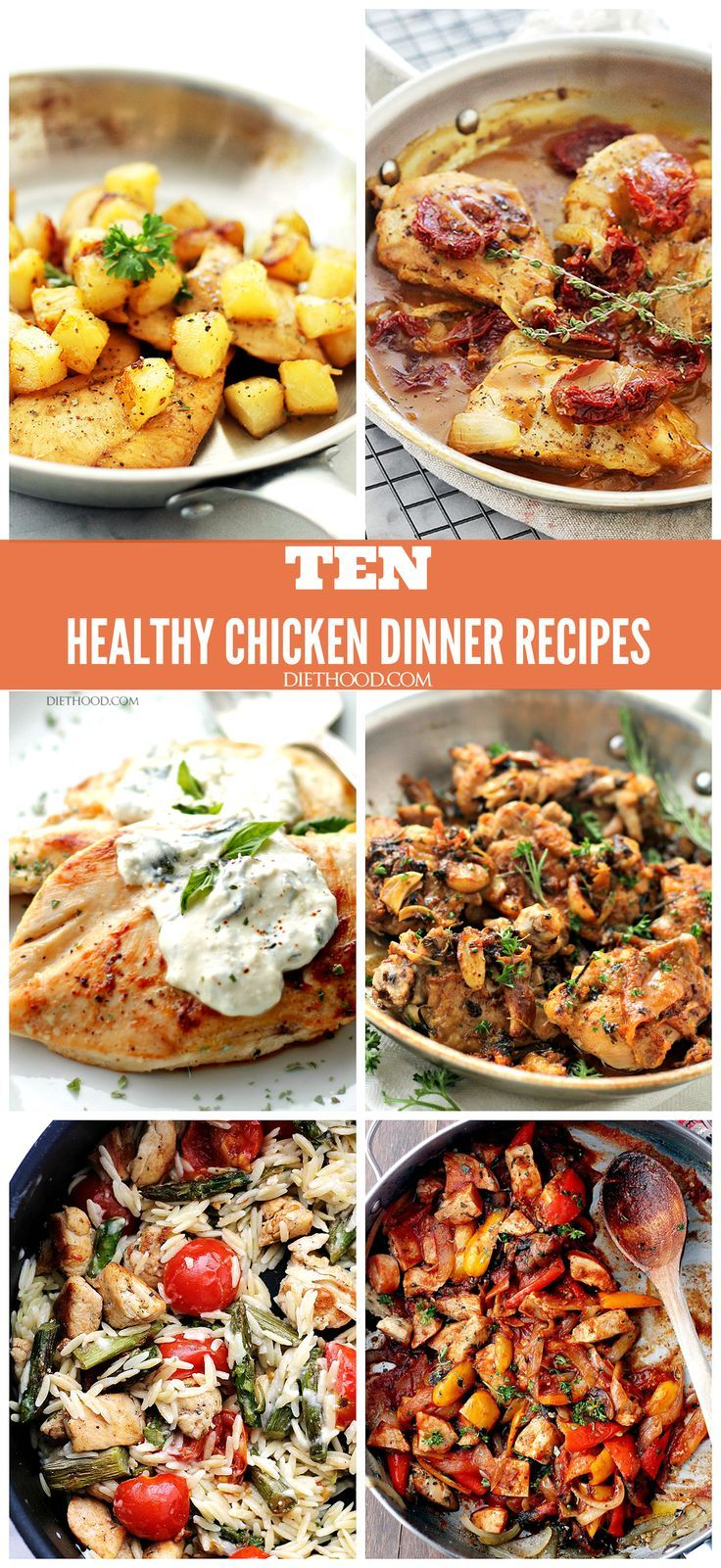 TEN HEALTHY CHICKEN DINNER RECIPES -  A compilation of my favorite Chicken Recipes with under 500 calories per serving! www.diethood.com