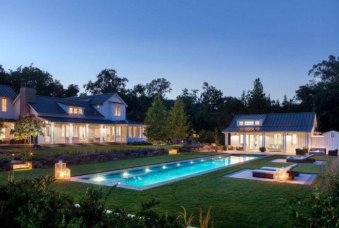Farmhouse Backyard. Farmhouse Backyard Ideas. Farmhouse Backyard Layout. Farmhouse Backyard Pool- Pool House - Patio. #Farmhouse #Backyard Moller Architecture, Inc.
