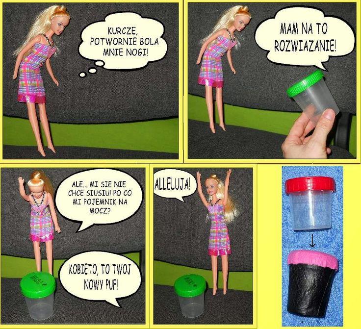 Meble dla Barbie: zrób je sam - Trendy puf z pojemniczka na mocz :)