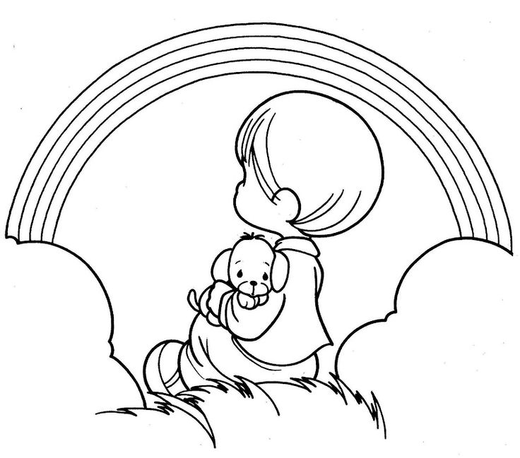 boy seeing a rainbow precious moments coloring pages