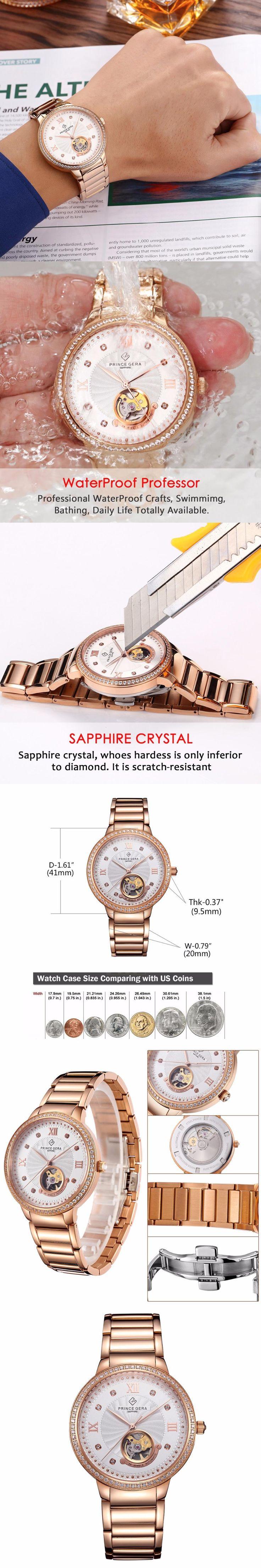 PRINCE GERA Rose Gold Couple's Tourbillon Luxury Dress Watch 24 Jewel Japanese Movement Automatic Mechanical Wrist Watch