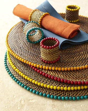 Perfect summer chargers!  Bead Place Mats & Napkin Rings at Horchow.  #summer #design #interiorinspiration @designkbs