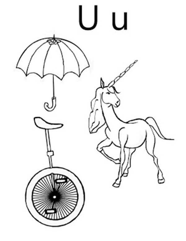 Umbrella Unicycle And Unicorn For Letter U Coloring Page Mermaid Coloring Pages Coloring Pages Memorial Day Coloring Pages